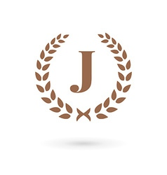 Letter j laurel wreath logo icon vector