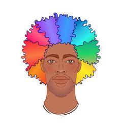 Lgbt person with rainbow hair an beard african vector