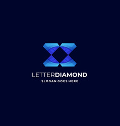 logo letter diamond gradient colorful style vector image