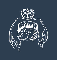 long-haired dog in the crown vector image