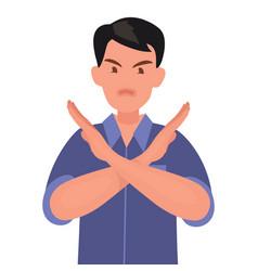 man shows a gesture no or stop vector image