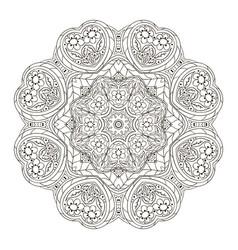 Mandala zentangl round ornament for creativity vector