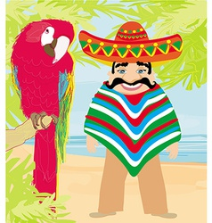 Mexican typical man and colorful parrot vector
