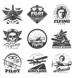 monochrome aircraft logos set vector image