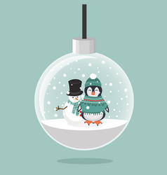 penguin in winter clothes and snowman with vector image