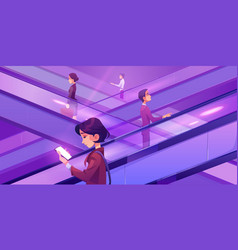 people moving on escalators in shopping center vector image