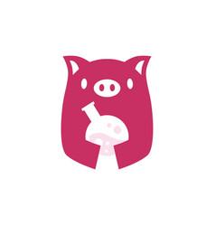 pig lab negative space logo icon vector image