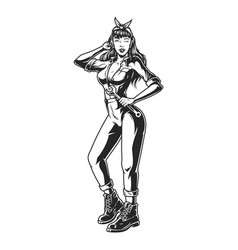 Pin up girl in mechanic uniform vector