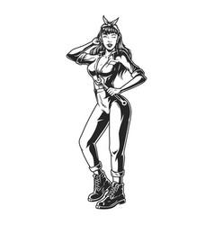 pin up girl in mechanic uniform vector image