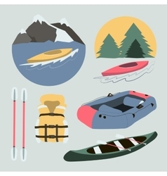Rafting and kayaking icons collection vector image
