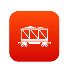 Railway wagon icon digital red vector
