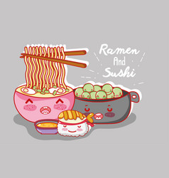 ramen and sushi kawaii cartoon vector image