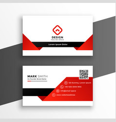 red and white modern business card design template vector image