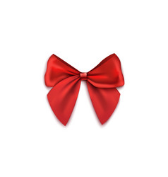red lush gift bow from silk ribbons realistic vector image
