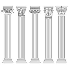 roman column set greek pillar ancient vector image