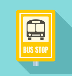 School bus stop sign icon flat style vector