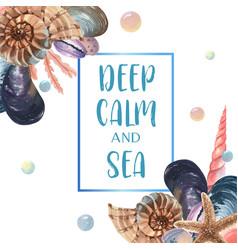 Sea shell marine life summertime travel vector