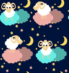 Seamless pattern with sheep at night vector image