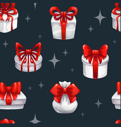 seamless pattern with white gift boxes vector image