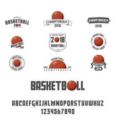 set basketball - badge logo and font vector image
