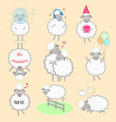 set cartoon sheeps in different positions and vector image