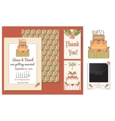 set invitation cards with cake badge and vector image