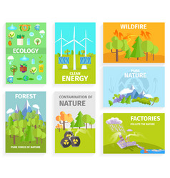 Set of banners dipicting environmental issues vector