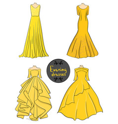 set of four yellow evening dresses on a white vector image
