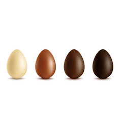 set white milk and dark chocolate eggs vector image