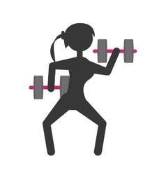 Silhouette girl dumbbell lifting fitness vector