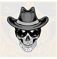 Skull head wearing glasses and cowboy hats vector