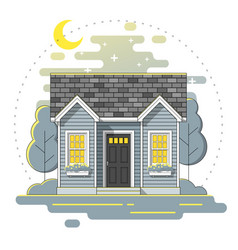 small house and landscape background vector image