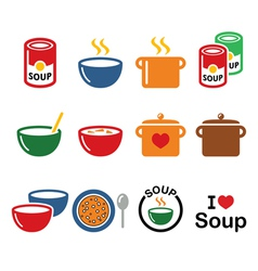 Soup in bowl can and pot - food icon set vector image