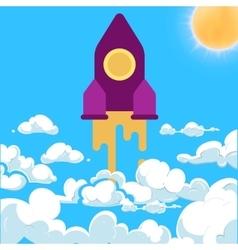 Start-up rocket white clouds cartoon vector image