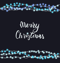 String blue garland and lettering isolated on blac vector
