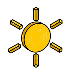 Sun isometric isolated icon vector