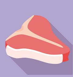 T-bone steak icon flat style vector