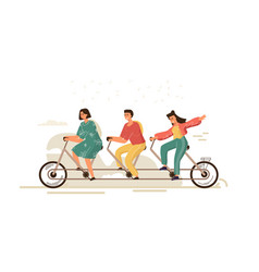 team work bike cartoon businessman characters on vector image
