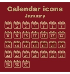 The calendar icon January symbol Flat vector