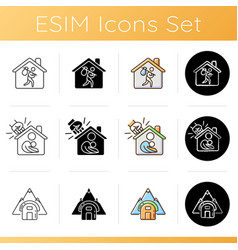 Transitional housing icons set vector