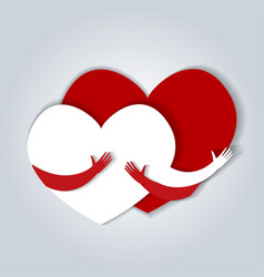 two hearts hugging in flat vector image