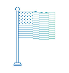 united states america flag in pole with waves vector image