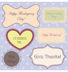 Vintage set of thanksgiving banners and simple vector