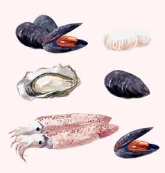 watercolor sea food set vector image