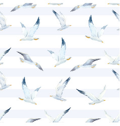 Watercolor seagull pattern vector