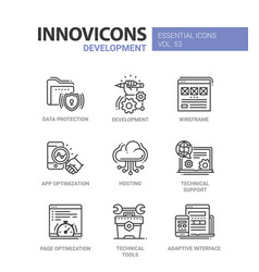 web page development - modern line icons vector image