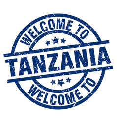 welcome to tanzania blue stamp vector image