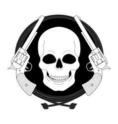 Wild skull west emblem linear vector