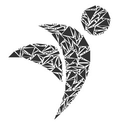 Winged man mosaic of triangles vector