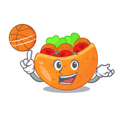 With basketball falafel in pita in bread cartoon vector